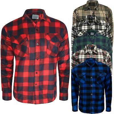 New Mens Thermal Fleece Shirts Warm Button Check Flannel Lumberjack Worker Tops