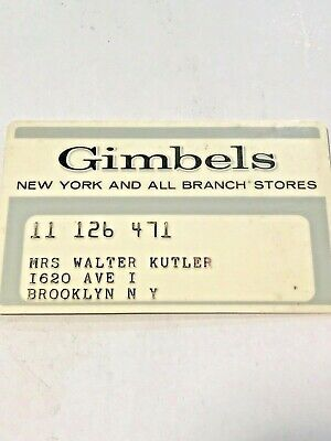 Gimbels Personal Charge Plate (Credit Card) - Vintage / Collectable
