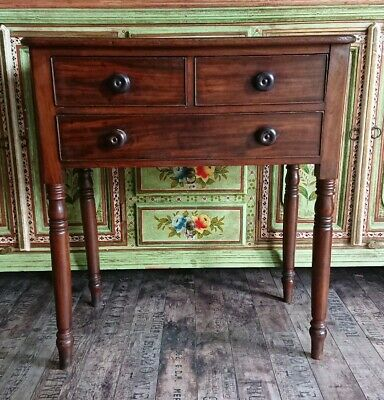 Antique Georgian Oak Console Desk With Drawers vintage quality Mahogany Patina
