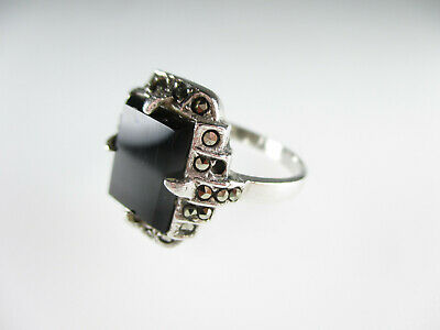 Art Deco Ring 925 Sterling Silber Onyx Markasit Vintage silver ring 18,75 mm