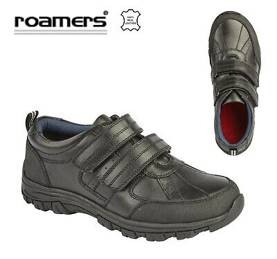 BOYS Touch Fastening Black Leather School Shoes - Size 8 9 10 11 12 13 1 2 3 4 5
