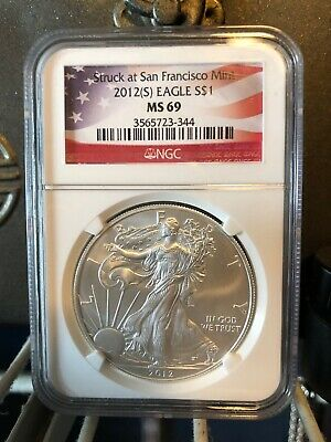 2012 (S) $1 American Silver Eagle Ngc Ms69 Struck At San Francisco Flag Label