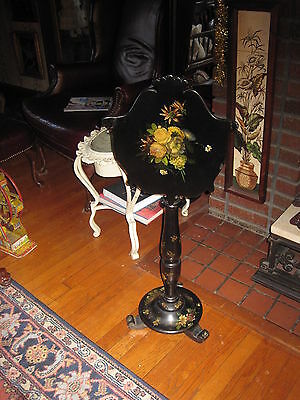 Paper Mache Pole Fire Screen Hand Painted Antique Victorian