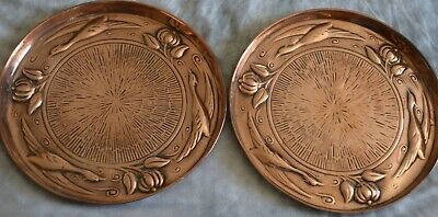 +Pair of Arts & Crafts Copper Trays