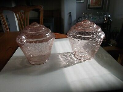 ART DECO  STEPPED CRACKLE GLASS LAMP SHADES x 2