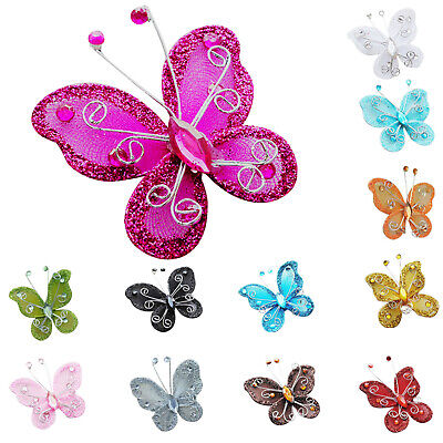 10Pcs Mixed Organza Wire Rhinestone Butterfly Wedding Decorations For Scrap X1I3