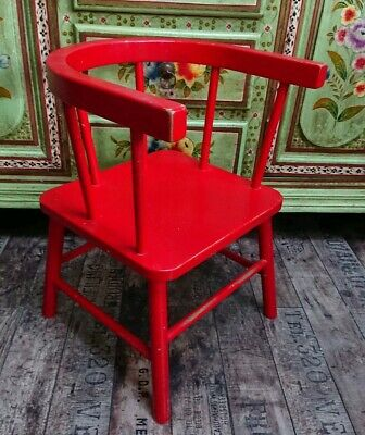 Antique vintage Childs Low back red bentwood armchair stick back wooden old 50s