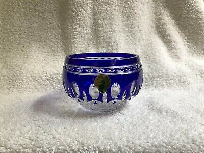 """Waterford Clarendon BLUE to Clear Cut Crystal 4"""" Bowl Votive - Beautiful!"""