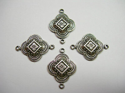 Antiqued Silver Plated Brass Victorian Filigree Drops Findings  4
