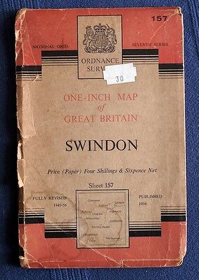 Ordnance Survey Map Swindon Sheet 157. Fully Revised 1949-56; Published 1958.