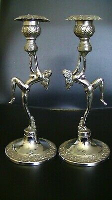 Pair Of Vintage Art Deco Chromium Candlesticks In The Style Of A Woman Dancing