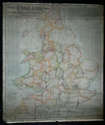 Antique Scarborough's Map of England and Wales / Lancashire Double Sided Map