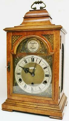 Antique English London 8 Day Burr Walnut Westminster Chime Musical Bracket Clock