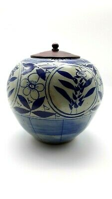 19th Century Export Chinese Blue & White Canton pottery Ginger Jar Floral Motif