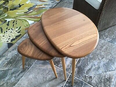 ERCOL Pebble Tables Nest of Three Vintage Blond Used