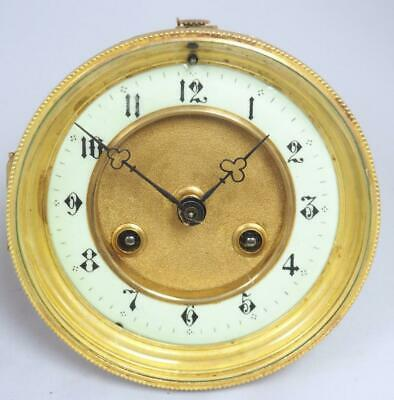 Antique French 8 Day Striking Clock Movement White Porcelain Dial Arabic Numeral
