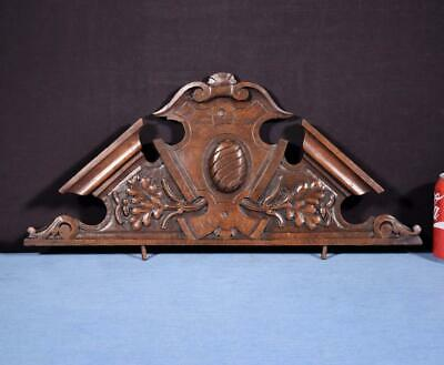 "*23"" French Antique Pediment/Crest in Carved Walnut Wood Salvage"
