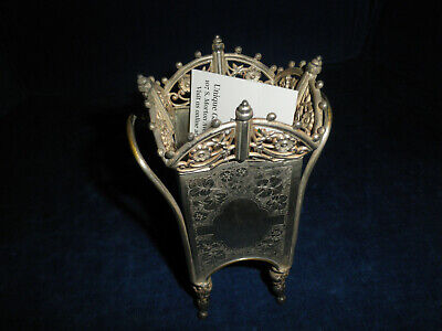James Tufts calling card receiver holder silver plate Victorian
