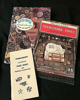 BUTTON * NEEDLEWORK TOOLS * THIMBLES * 3 * Collectors Guides