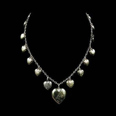 Vintage Puffy Heart Locket Charm 9ct 9K Yellow Gold Necklace Antique Victorian
