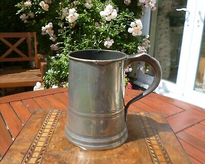 Gorgeous & Large Victorian Pewter Quart Tankard-James Yates