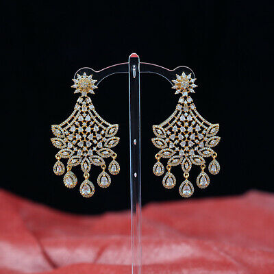 Chandelier White Cz Cubic Zircon Gold Plated Bridal Earrings For Brides