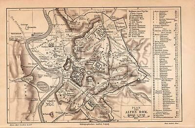 Antique map. HISTORIC MAP. ANCIENT ROME & PALATINE HILL. c 1905