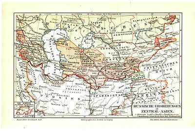 Antique map. HISTORIC MAP. RUSSIAN EMPIRE TERRITORIES IN CENTRAL ASIA. c 1905