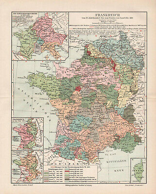Antique map. HISTORIC MAP. HISTORY OF FRANCE FROM 15th TO 19th CENTURY.  c 1905