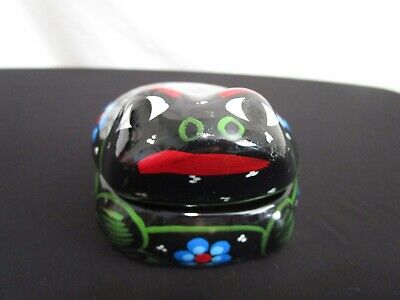"""Small 4"""" Mexican Hand Painted Frog Pottery Trinket Jewelry Box"""