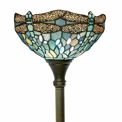 Tiffany Style Torchiere Light Floor Standing Lamp Wide 12 Tall 66 Inch Sea Blue