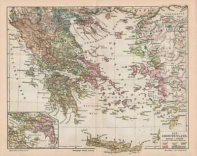Antique map. HISTORIC MAP. HISTORY OF THE ANCIENT GREECE. c 1905