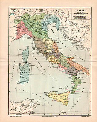 Antique map. HISTORIC MAP. ITALY IN EMPERORS AUGUSTUS TIME. c 1905