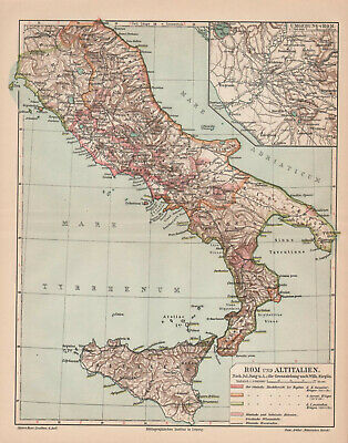 Antique map. HISTORIC MAP. ANCIENT ITALY & ANCIENT ROME. c 1905