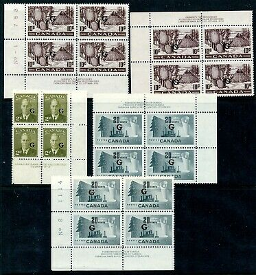 Weeda Canada O26/O30 VF MNH lot of 5 plate blocks, G officials CV $105.25