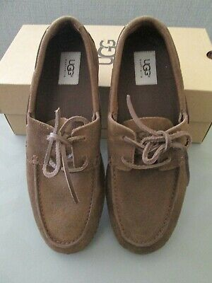 787e73a33cb UGG AUSTRALIA MENS MURRAY Boat Shoes TAUPE Suede Leather Laces Size ...