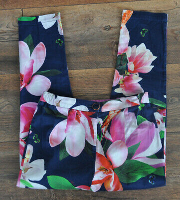 Ted Baker Designer Girls Chinos Light Trousers Floral 10 Years Navy Cotton