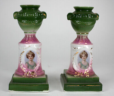 Vintage Porcelain Candle Holder Candlestick Pair Woman Girl & Urn Motif