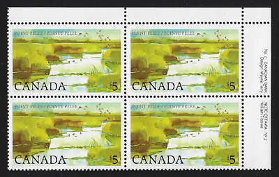 Canada — Block of 4 UR (Plate 2) — 1984, Point Pelee National Park #937i — MNH