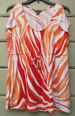 Tommy Bahama Wms S Soft Knit Tropical Striped Drawstring Flutter Sleeveless Top