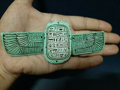 Rare Large ANCIENT EGYPTIAN WINGED Scarab Beetle With Hieroglyphics 664-332BC