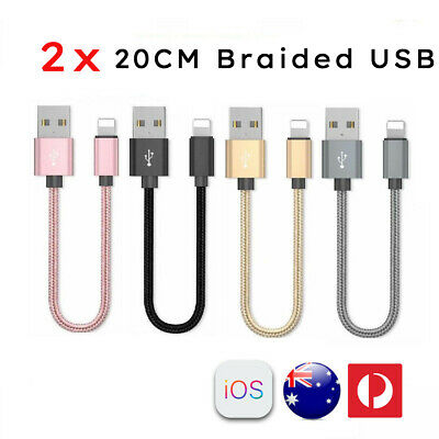 2x 20CM Short Braided Lightning USB Cable Fast Charging Cord iPhone XS 8 7 6+ 5