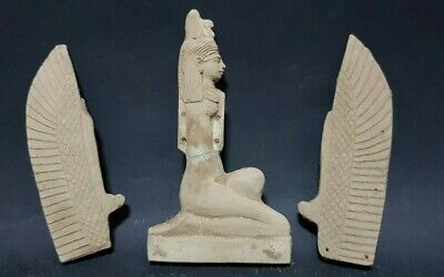 Rare ANCIENT EGYPTIAN ANTIQUES ISIS GODDESS Winged EGYPT Stone 2686-2181 BC