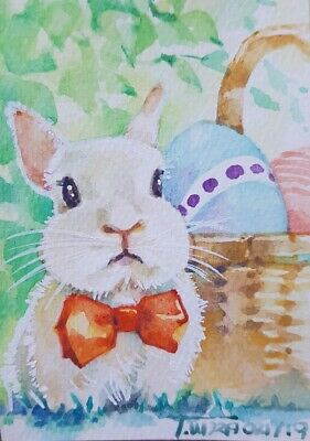 Original ACEO Painting Art Collect Gift Card Bunny Rabbit Egg Basket Gift Easter