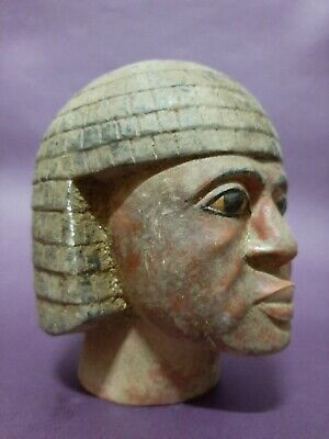 Rare ANCIENT EGYPTIAN ANTIQUES Head Of Nubian King EGYPT LUXOR Stone EGYPT BC