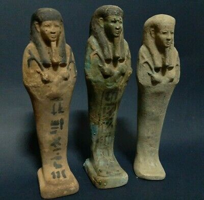 Rare ANCIENT EGYPTIAN ANTIQUES 3 Ushabti Shabti EGYPT Faience Stone 600-300 BC