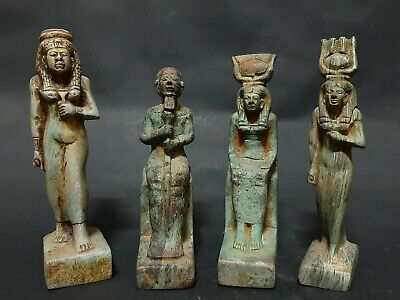 ANCIENT EGYPTIAN ANTIQUES Rare 4 Statues Egypt Hand Carved Stone 1540-1460 BC