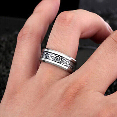 Men's Silver Celtic Dragon Wedding Band Rings Titanium Stainless Steel Fashion