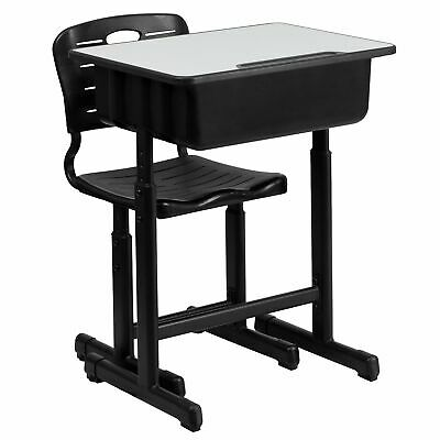 NEW Flash Furniture Adjustable Height Student Desk and Chair with Black Pedestal