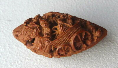 Rare Antique Chinese Hand Carved Pit Button Superb Details Asian Scene